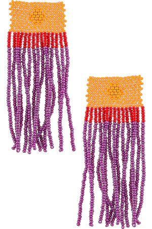 Casa Clara Rita Fringe Earring in Purple,Orange.