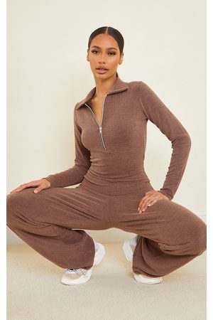 PRETTYLITTLETHING Chocolate Rib Collar Detail Zip Jumpsuit