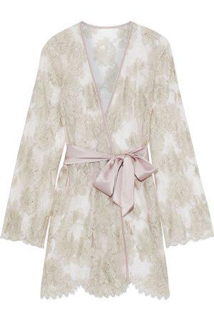 MYLA Women Bathrobes - Woman Dove Mews Satin-trimmed Leavers Lace Robe Blush Size M/L