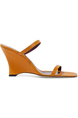 By Far Woman Steffi Leather Wedge Sandals Saffron Size 35