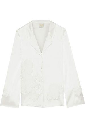 MYLA Woman Primrose Hill Appliquéd Stretch-silk Satin Pajama Shirt Ivory Size L