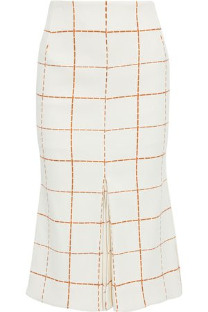 Victoria Beckham Woman Pleated Checked Wool-blend Twill Midi Skirt Off- Size 10