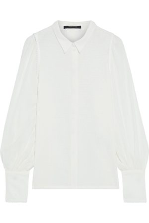 MOTHER OF PEARL Woman Natalie Picot-trimmed Organic Cotton-jacquard Shirt Ivory Size 10