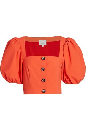 Cinq Sept Casey Stretch Puff-Sleeve Top