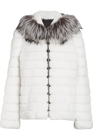 The Fur Salon Women's Julia & Stella For Sectioned Rabbit Fur & Fox Fur-Hood Jacket - - Size XS
