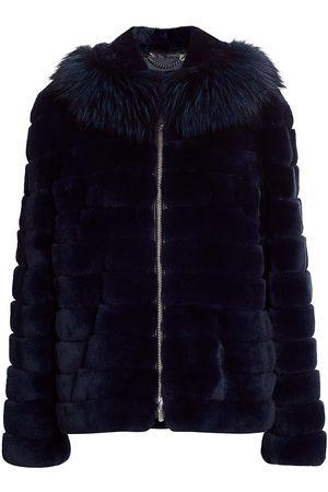 The Fur Salon Women's Julia & Stella For Rabbit Fur & Fox Fur-Hood Jacket - - Size Large