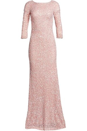 THEIA Women's Boatneck Sequin Tulle Gown - - Size 10
