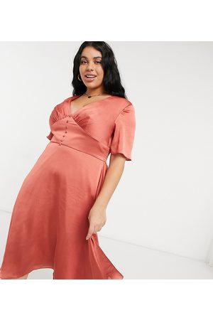 Chi Chi London Women Midi Dresses - Button down flutter sleeve midi skater dress in rust