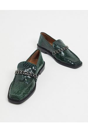 ASOS Marsh leather chain loafers in snake