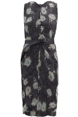 Raey Belted Floral-print Silk-chiffon Dress - Womens - Print