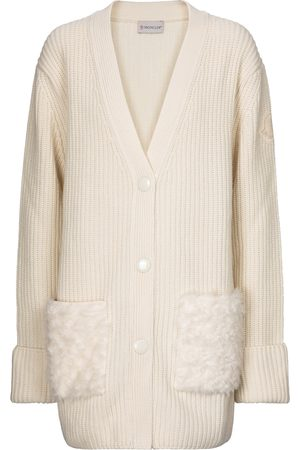 Moncler Faux fur, wool and cashmere cardigan