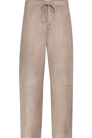 Max Mara Women Leather Pants - Fufy wide-leg suede pants