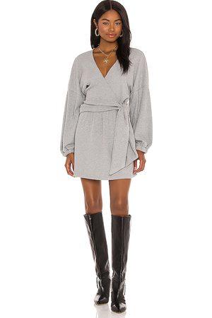 Michael Costello X REVOLVE Tie Front Mini Dress in Grey.