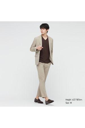 UNIQLO Men Short Sleeve - Men's Supima- Cotton V-Neck Short-Sleeve T-Shirt, Brown, XXS
