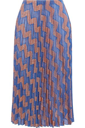 M Missoni Women Midi Skirts - Woman Pleated Metallic Jacquard-knit Midi Skirt Copper Size L
