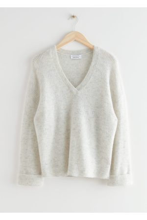 & OTHER STORIES Oversized V-Neck Ribbed Sweater