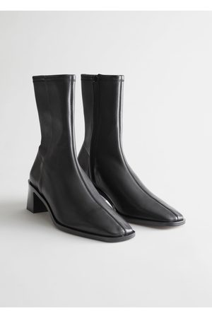 & OTHER STORIES Squared Toe Leather Sock Boots