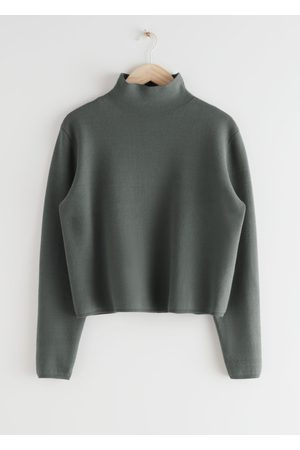 & OTHER STORIES Cropped Relaxed Fit Turtleneck - Grey