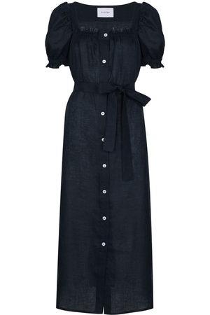 Sleeper Square neck linen midi dress