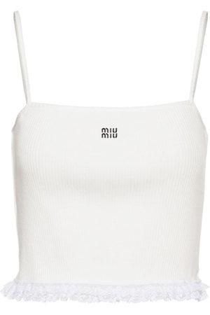 Miu Miu Women Tank Tops - Embroidered logo ribbed top