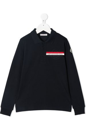 Moncler Boys Polo Shirts - Logo striped polo shirt