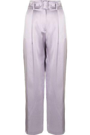 Fleur Du Mal Women Straight Leg Pants - Belted silk trousers