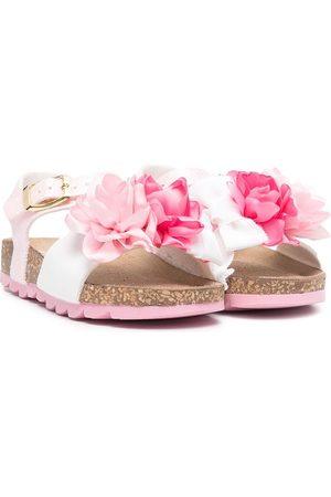 MONNALISA Floral appliqué leather sandals