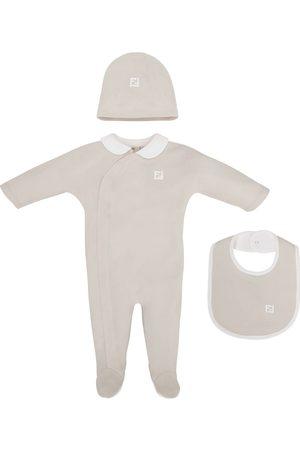 Fendi Logo-embroidered babygrow set - Neutrals