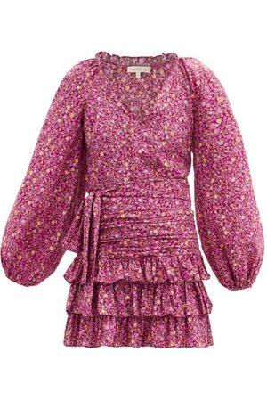 LOVESHACKFANCY Rina Floral-print Ruched Cotton Mini Dress - Womens - Print