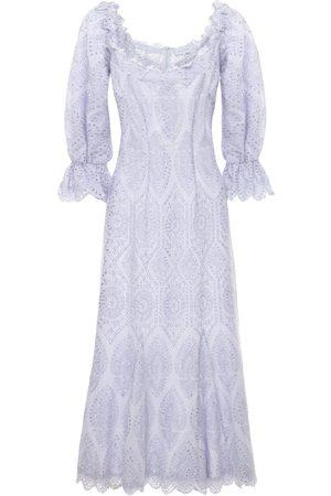 LUISA BECCARIA Cotton Eyelet Long Dress