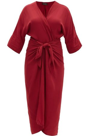 Haight Ana Knotted Crepe Cover Up - Womens - Burgundy
