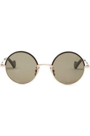 Loewe Leather-rim Round Metal Sunglasses - Womens