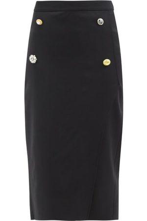 Vetements Women Midi Skirts - Multi-button Tailored Wool Skirt - Womens