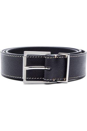 Maison Margiela Men Belts - Topstitched Grained-leather Belt - Mens