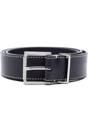 Maison Margiela Topstitched Grained-leather Belt - Mens