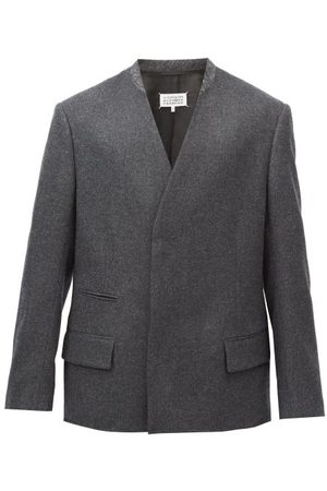 Maison Margiela Collarless Double-breasted Wool Blazer - Mens - Grey
