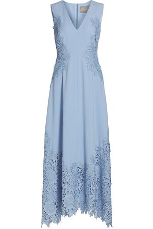 LELA ROSE Women's Embroidered Appliqué Crepe Midi Dress - - Size 12