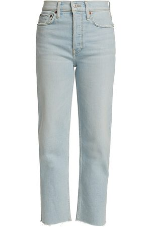 RE/DONE Women's 70s Stove Pipe Cropped Jeans - - Size 32 (12)