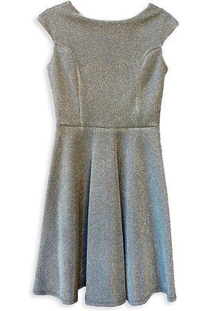 Un Deux Trois Girl's Glitter Cap-Sleeve Fit-&-Flare Dress - - Size 16