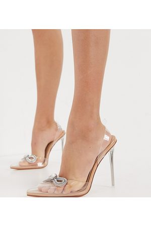 Simmi Wide Fit Simmi London Wide Fit Karoline heeled shoes with diamante bow in