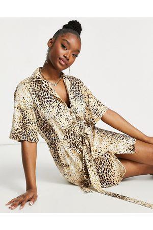Motel Mini shirt dress in sand leopard