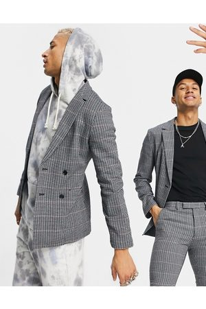 ASOS Super skinny soft tailored wool mix suit jacket in blue micro with grid check-Blues