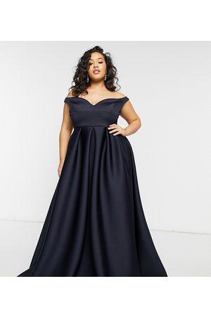 True Violet True Violet Black Label Plus bardot prom maxi dress with pockets in navy