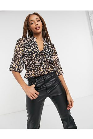 ASOS Sheer long sleeve top with shirred waist in pink leopard print-Multi