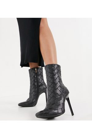 Simmi Wide Fit Simmi London Wide Fit Melina woven heeled ankle boots in