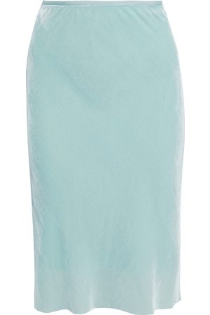 Helmut Lang Women Midi Skirts - Woman Grosgrain-trimmed Velvet Skirt Mint Size L