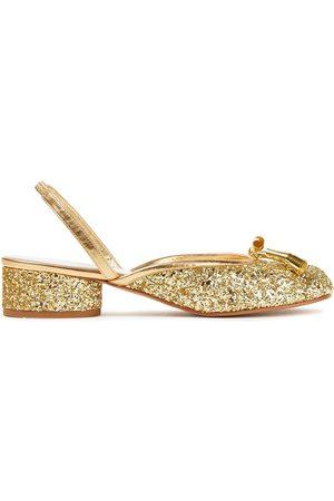 Maison Margiela Woman Tabi Split-toe Glittered Leather Slingback Pumps Size 40