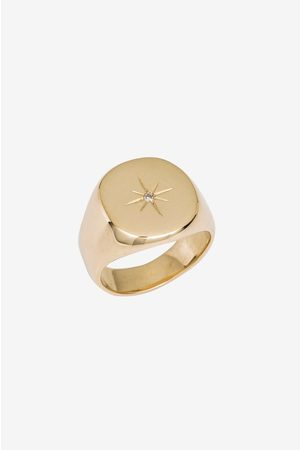 ANINE BING Women Rings - 14k Yellow & Diamond Signet Ring