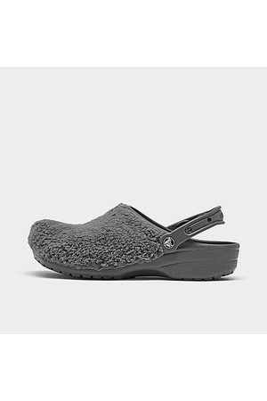 Crocs Classic Fuzz Mania Clog Shoes in Grey Size 4.0 Fur