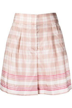 Alberta Ferretti High-rise check-print satin shorts - Neutrals